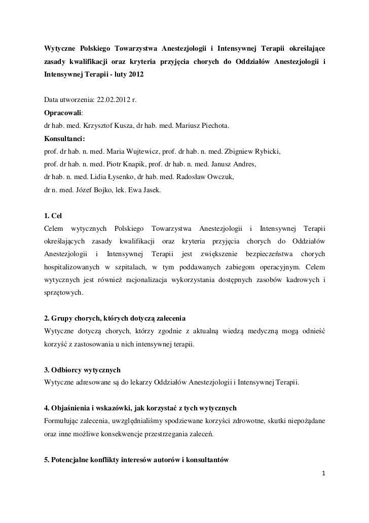 Wytyczne Polskiego Towarzystwa Anestezjologii i Intensywnej Terapii określającezasady kwalifikacji oraz kryteria przyjęcia...