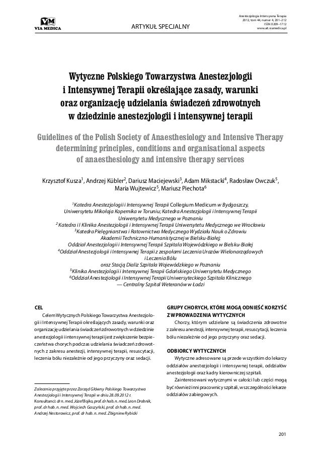 Anestezjologia Intensywna Terapia                                                                                         ...