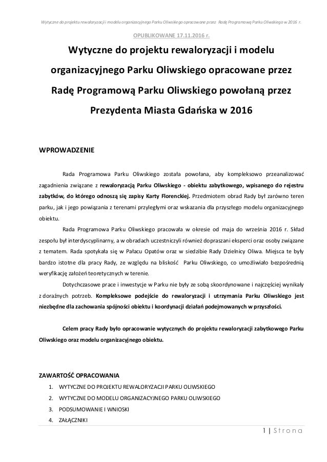 Wytyczne do projektu rewaloryzacji i modelu organizacyjnego Parku Oliwskiego opracowane przez Radę Programową Parku Oliwsk...