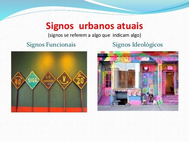 Signos urbanos atuais (signos se referem a algo que indicam algo) Signos Funcionais ESTRADAS DE FERRO Signos Ideológicos P...