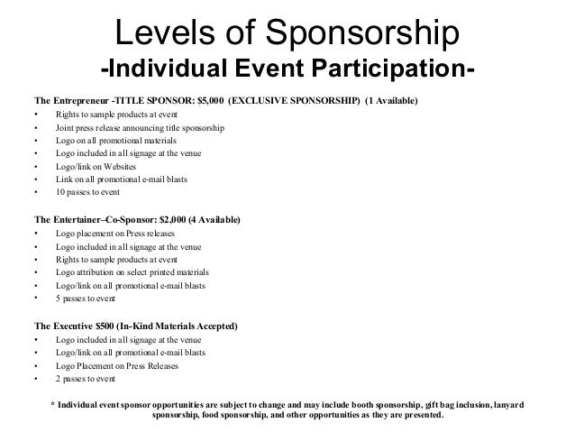 Sponsorship Package from the FIRM Music Fest – Sponsorship Proposals for Events
