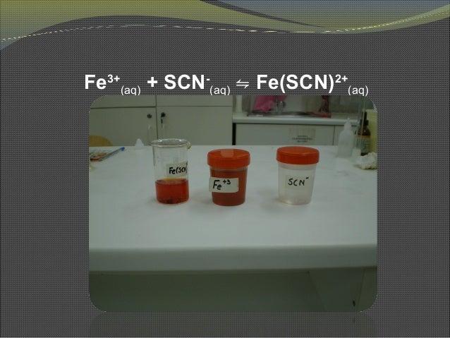 Fe3+ (aq) + SCN- (aq) ⇋ Fe(SCN)2+ (aq)