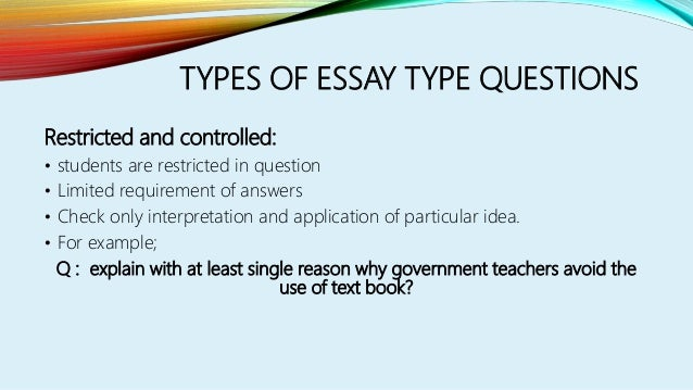 essay type questions examples