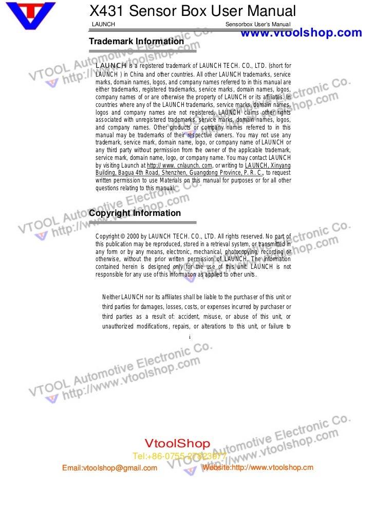 X431 Sensor Box User Manual       LAUNCH                                                  Sensorbox User's Manual         ...