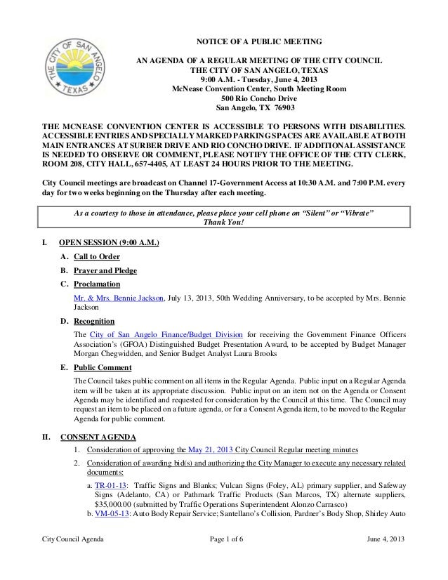 City Council Agenda Page 1 of 6 June 4, 2013NOTICE OF A PUBLIC MEETINGAN AGENDA OF A REGULAR MEETING OF THE CITY COUNCILTH...