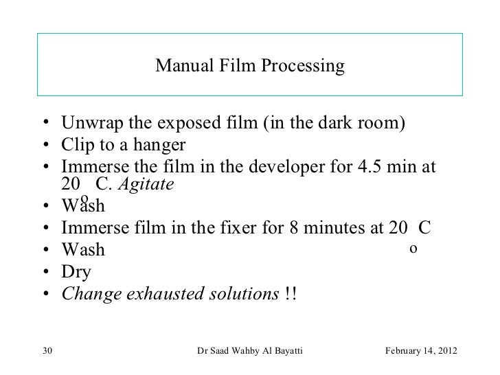 Dental x ray film processing.