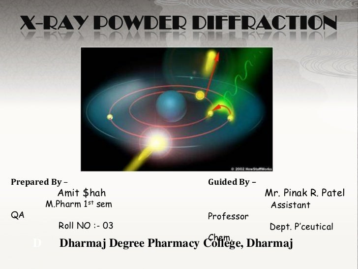 X-RAY POWDER DIFFRACTIONPrepared By –                        Guided By –           Amit $hah                              ...