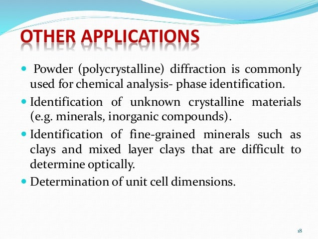 x ray powder diffraction analysis principles instrumentation Clay mineral xrd sample preparation and interpretation connie constan, guest lecture eps 400, 04/04/2012 general principles of identification basal (00l) quantitative x-ray diffraction analysis of clay-bearing.