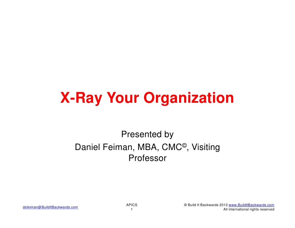 X-Ray Your Organization                                      Presented by                           Daniel Feiman, MBA, CM...