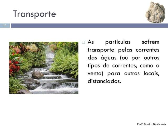 Transporte 10  As partículas sofrem transporte pelas correntes das águas (ou por outros tipos de correntes, como o vento)...