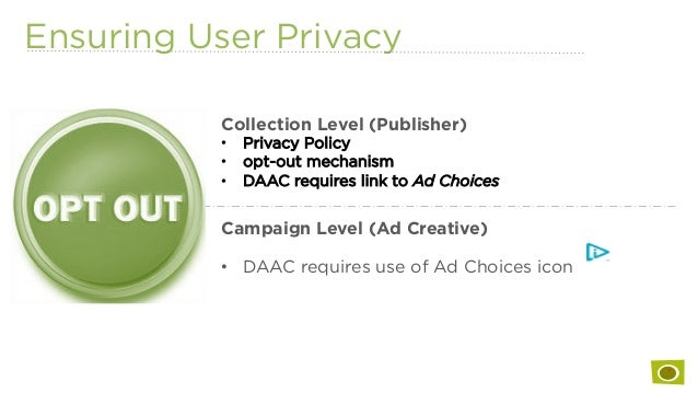 Ensuring User Privacy Collection Level (Publisher) • Privacy Policy • opt-out mechanism • DAAC requires link to Ad Choi...