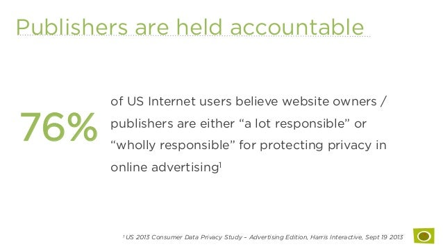 Publishers are held accountable 76% 1 US 2013 Consumer Data Privacy Study – Advertising Edition, Harris Interactive, Sept ...