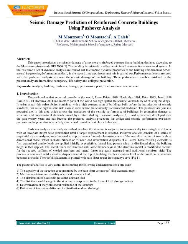 International Journal Of Computational Engineering Research (ijceronline.com) Vol. 3 Issue. 1           Seismic Damage Pre...