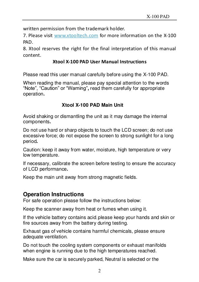 xtool x100 pad key programmer user manual rh slideshare net Product Radar Detector Manuals Chilton Auto Manuals