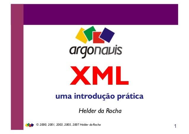 1 Helder da Rocha XML uma introdução prática © 2000, 2001, 2003, 2005, 2007 Helder da Rocha