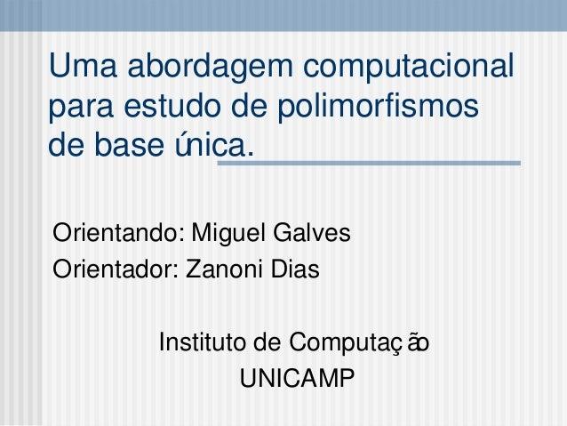 Uma abordagem computacional para estudo de polimorfismos de base única. Orientando: Miguel Galves Orientador: Zanoni Dias ...
