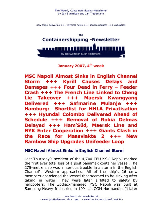 The Weekly Containershipping-Newsletter by Jan Svendsen and Jan Tiedemann download this newsletter at - www.jantiedemann.d...