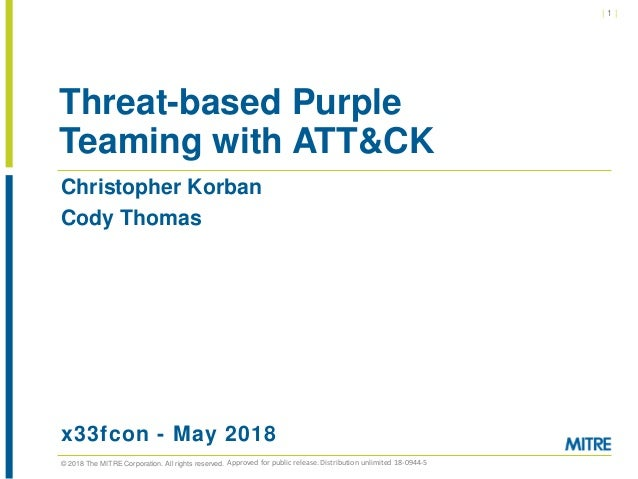 © 2018 The MITRE Corporation. All rights reserved. | 1 | Christopher Korban Cody Thomas x33fcon - May 2018 Threat-based Pu...