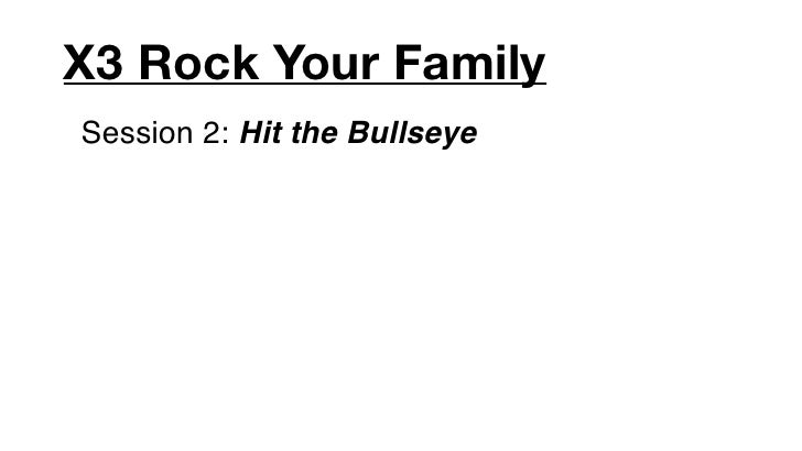 X3 Rock Your FamilySession 2: Hit the Bullseye