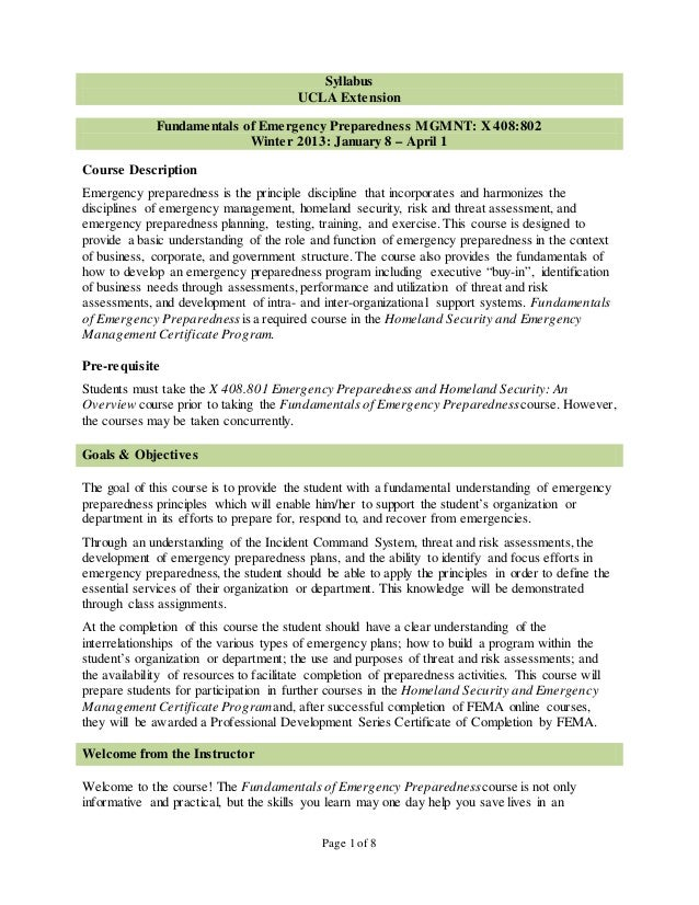 Syllabus                                         UCLA Extension              Fundamentals of Emergency Preparedness MGMNT:...