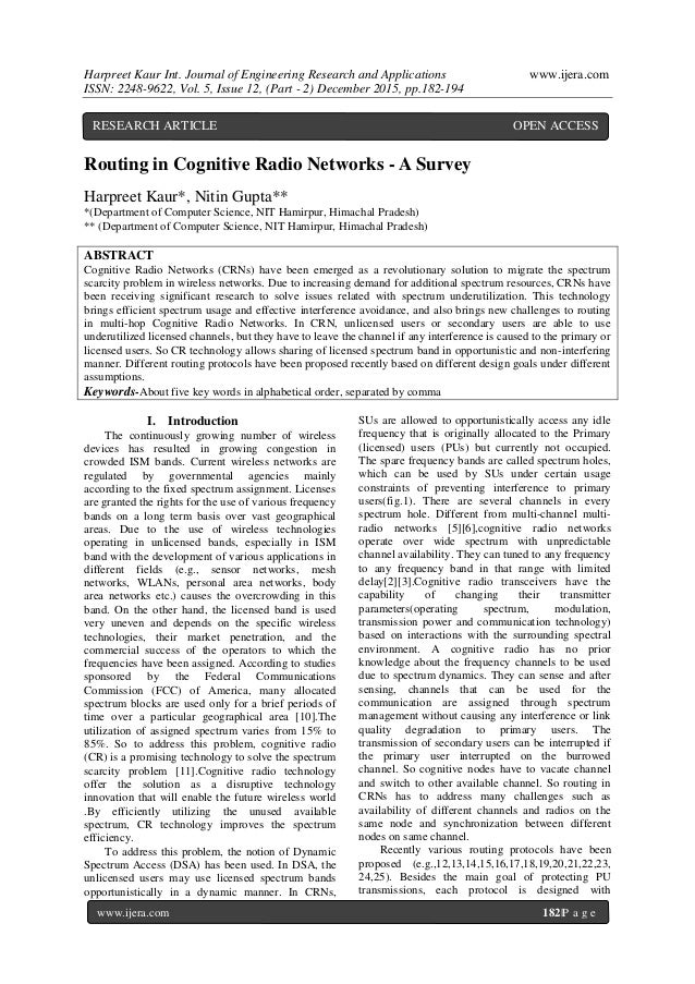 Cognitive Radio PhD Thesis for Research Scholars.