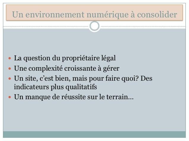Un environnement numérique à consolider  La question du propriétaire légal  Une complexité croissante à gérer  Un site,...