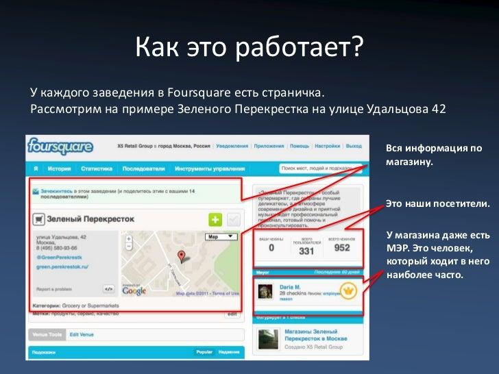 Как это работает?У каждого заведения в Foursquare есть страничка.Рассмотрим на примере Зеленого Перекрестка на улице Удаль...