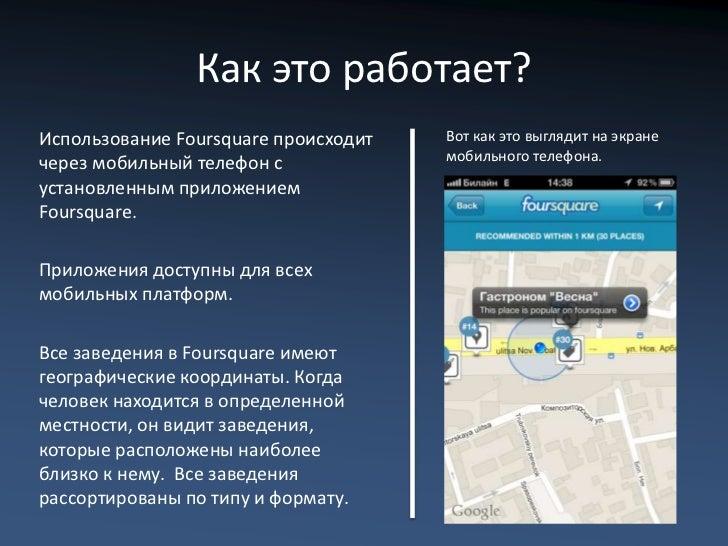 Как это работает?Использование Foursquare происходит   Вот как это выглядит на экране                                     ...