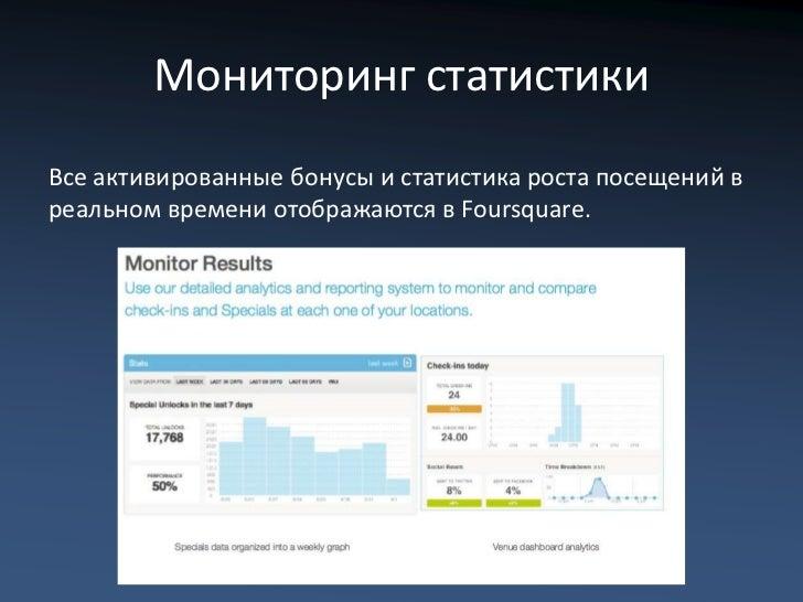 Мониторинг статистикиВсе активированные бонусы и статистика роста посещений вреальном времени отображаются в Foursquare.
