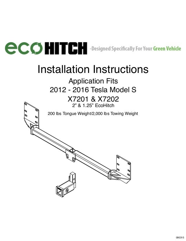 "SAFETY FIRST! L) L) 2013-2015 Installation Instructions Application Fits 2012 - 2016 Tesla Model S X7201 & X7202 2"" & 1.25..."