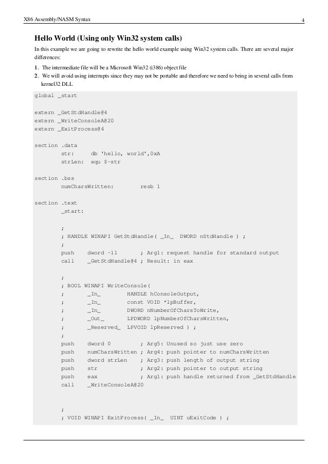 X86 assembly nasm syntax