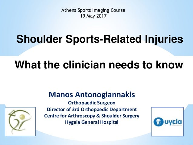 Shoulder Sports-Related Injuries What the clinician needs to know Manos Antonogiannakis Orthopaedic Surgeon Director of 3r...