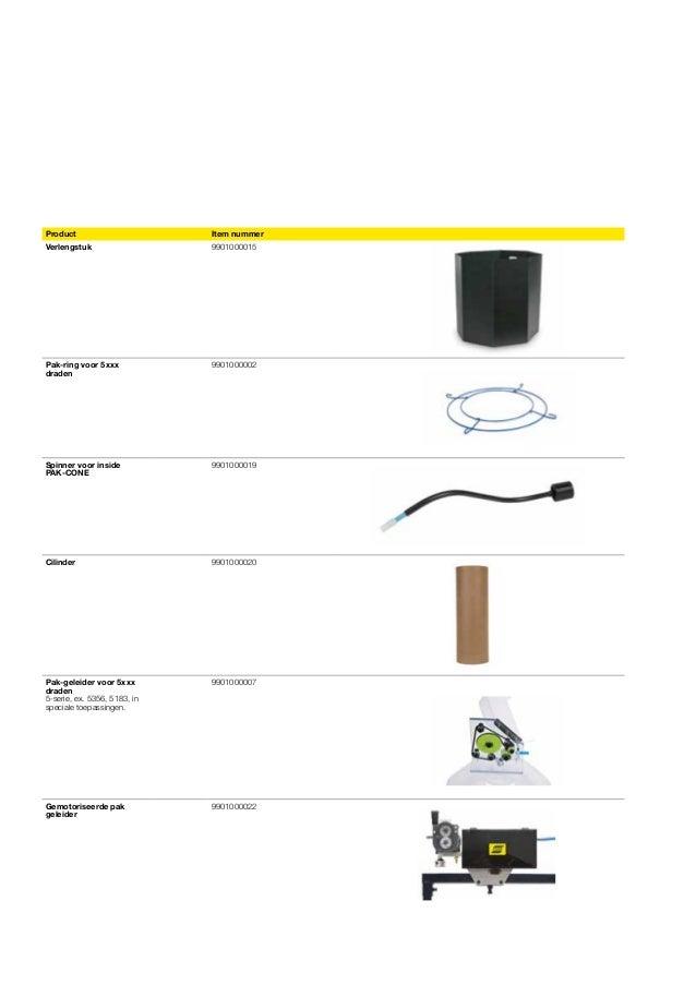 Product  Item nummer  Verlengstuk  9901000015  Pak-ring voor 5xxx draden  9901000002  Spinner voor inside PAK-CONE  990100...
