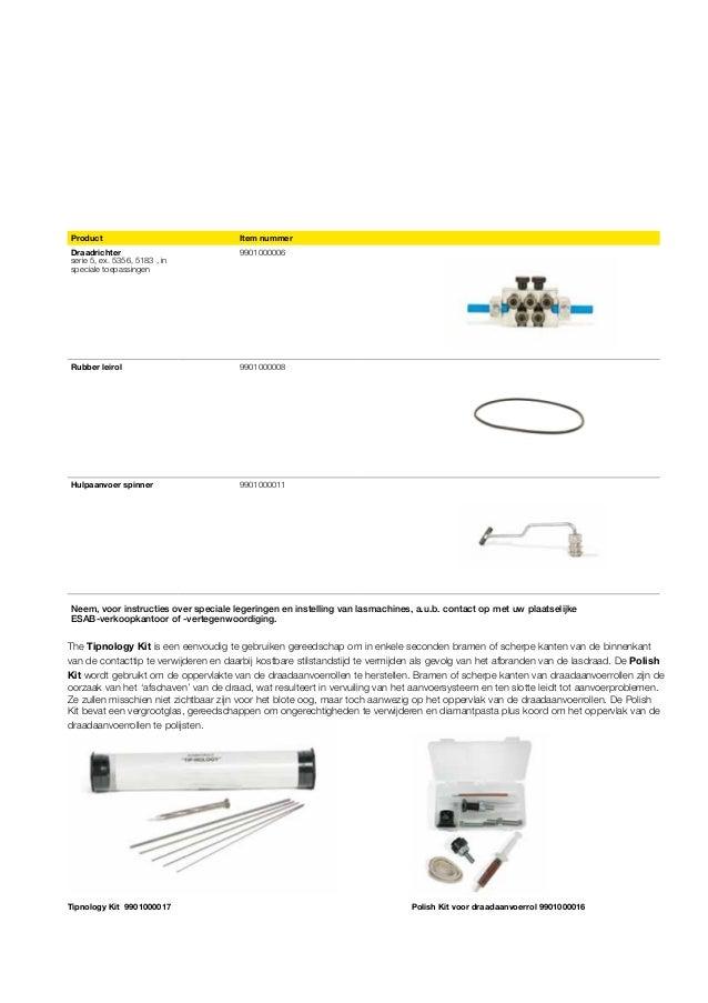 Product  Item nummer  Draadrichter serie 5, ex. 5356, 5183 , in speciale toepassingen  9901000006  Rubber leirol  99010000...