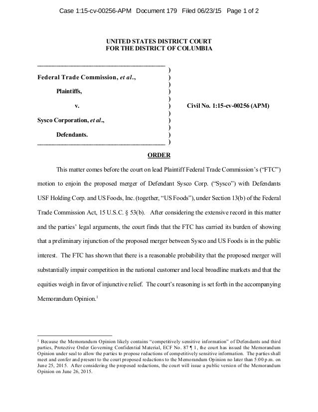 UNITED STATES DISTRICT COURT FOR THE DISTRICT OF COLUMBIA _________________________________________ ) Federal Trade Commis...