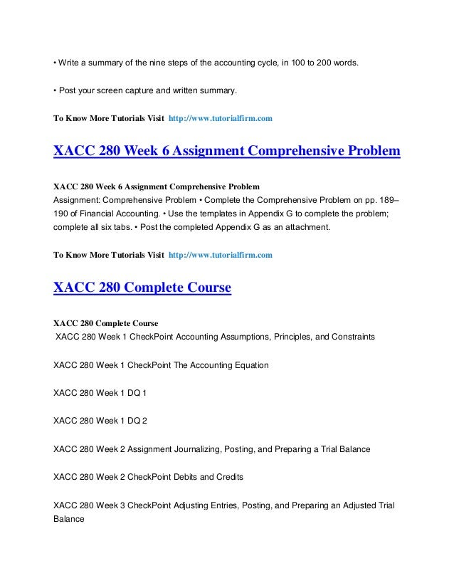 nine steps of accounting xacc 280 Xacc/280 wk2 assignment journalizing, posting, and preparing a trial  and preparing a trial balance xacc/280 november 27,  he nine steps o the accounting.