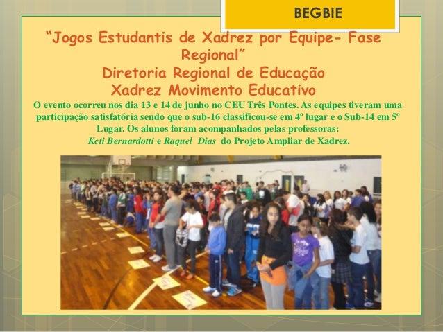 """""""Jogos Estudantis de Xadrez por Equipe- Fase Regional"""" Diretoria Regional de Educação Xadrez Movimento Educativo O evento ..."""