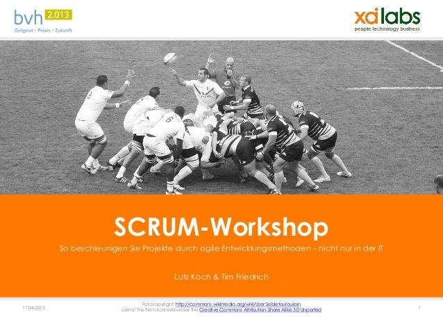 SCRUM-Workshop             So beschleunigen Sie Projekte durch agile Entwicklungsmethoden – nicht nur in der IT           ...