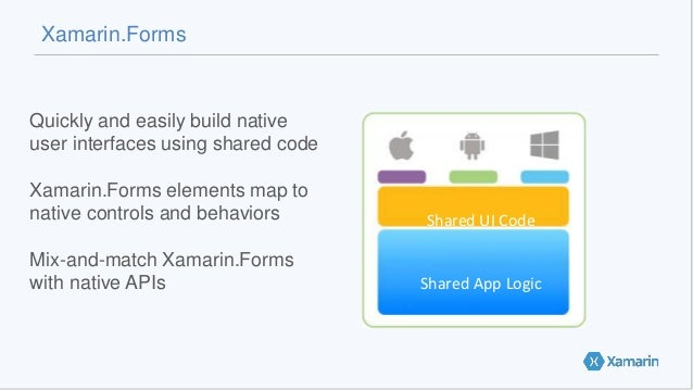 Xamarin.Forms Quickly and easily build native user interfaces using shared code Xamarin.Forms elements map to native contr...