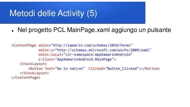 """Metodi delle Activity (5)  Nel progetto PCL MainPage.xaml aggiungo un pulsante <ContentPage xmlns=""""http://xamarin.com/sch..."""