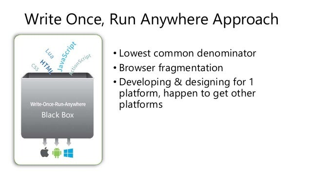 Write Once, Run Anywhere Approach  • Lowest common denominator  • Browser fragmentation  • Developing & designing for 1  p...
