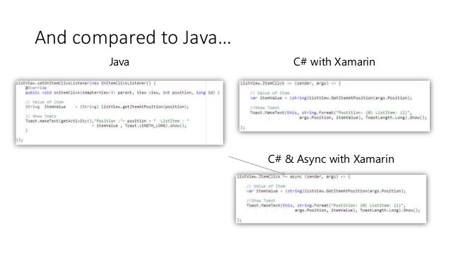 Java C# with Xamarin  C# & Async with Xamarin  And compared to Java…