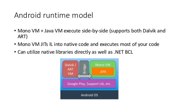 Android runtime model  • Mono VM + Java VM execute side-by-side (supports both Dalvik and  ART)  • Mono VM JITs IL into na...