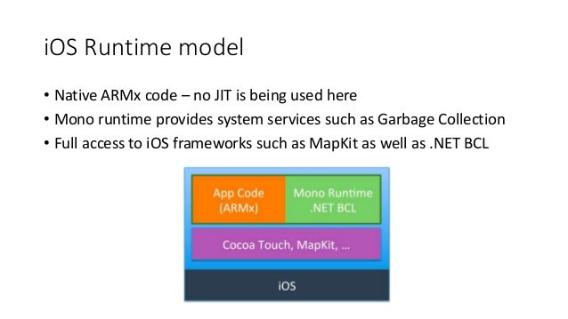 iOS Runtime model  • Native ARMx code – no JIT is being used here  • Mono runtime provides system services such as Garbage...