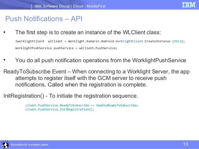 Push Notification in IBM MobileFirst Xamarin SDK