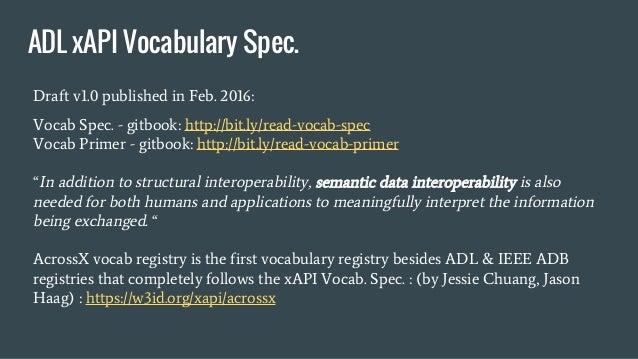 Draft v1.0 published in Feb. 2016: Vocab Spec. - gitbook: http://bit.ly/read-vocab-spec Vocab Primer - gitbook: http://bit...