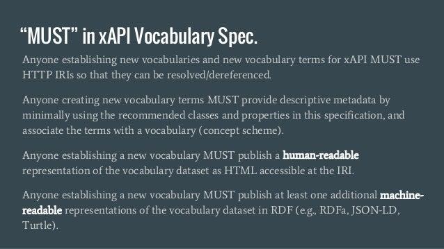"""MUST"" in xAPI Vocabulary Spec. Anyone establishing new vocabularies and new vocabulary terms for xAPI MUST use HTTP IRIs ..."