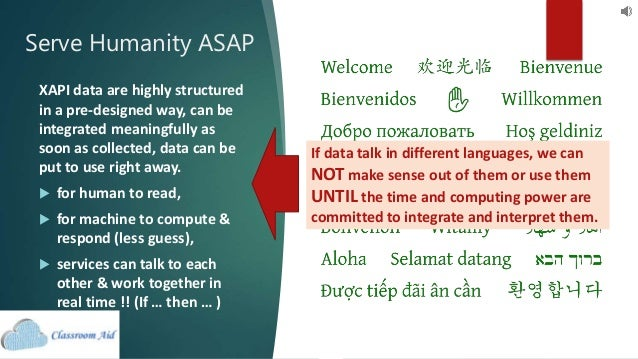 Serve Humanity ASAP XAPI data are highly structured in a pre-designed way, can be integrated meaningfully as soon as colle...