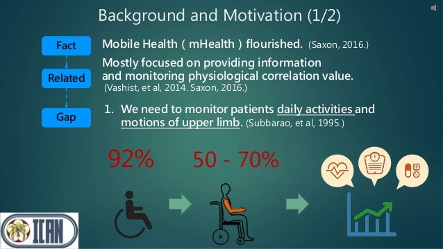 Background and Motivation (1/2) 1. We need to monitor patients daily activities and motions of upper limb. (Subbarao, et a...