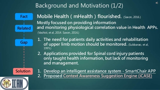 Background and Motivation (1/2) 2. Applications provided for Spinal cord injury patients only taught health information, b...
